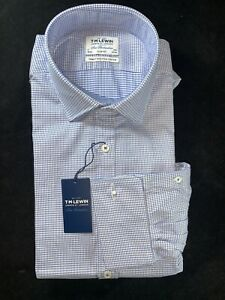 """BNWT T.M. LEWIN Men Finest Two-Fold Cotton,Cuff-Link Blue Check Shirt.Size 17"""""""