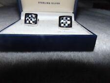 New In Box DOLAN BULLOCK Euro Checkerboard Sterling Silver 925  CUFFLINKS NOS  T