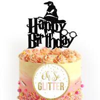 Happy Birthday glitter cake topper, harry, halloween decor, customised, potter