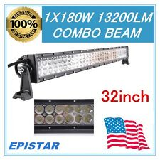 32inch 180W EPISTAR LED OFFROAD CAR WORK LIGTH BAR 13200LM 4WD FLOOD SPOT TRUCK