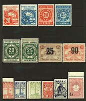 Denmark selection of private railway and railway freight stamps from a ra Stamps