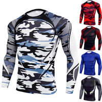 Mens Compression Armour Base Layer Top Long Sleeve Fit Thermal Gym Sports Shirts