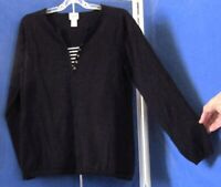 EUC Pretty CHICO'S Black KNIT TOP w.Striped INSET Cotton NYLON & 3% Spandex Sz 2