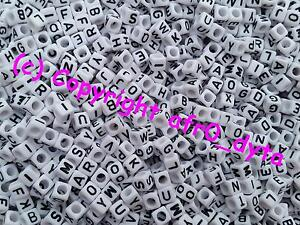 100 White Alphabet Mixed Letters Cube Beads 6mm For Jewellery Making BUY 3 FOR 2