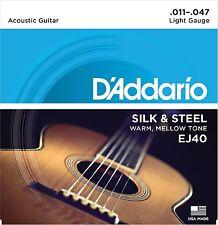 D'Addario Guitar Strings  Acoustic  EJ40  Silk & Steel Folk  11-47