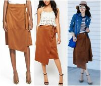 GLAMOROUS  CHIC  SOFT  FAUX  SUEDE  WRAP  MIDI  SKIRT   Sz M   Nordstrom  NEW