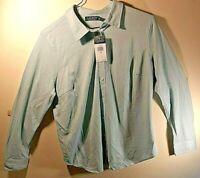 NWT Lauren by Ralph Lauren Women's Blue Long Sleeve Button Up Shirt Size: 1X