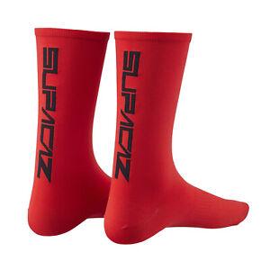 Supacaz SupaSox STRAIGHT UP Tall Cycling Socks : RED/BLACK One Pair