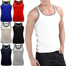 Mens Cotton Summer Contrast Neck Beach Wear Gym Training Holiday Tank Vest Top