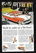 1956 Ford Fairlane Victoria Vintage Original Print Ad Red White
