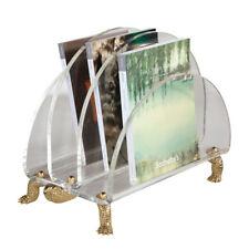 Maitland-Smith 8112-13 Clear Acrylic Magazine Rack,Turtle Motif, Brass Trim New
