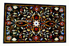 """Marble Dining End Table Top Gemstone Sea Shell Inlaid Work Home Decor 30"""" X 24"""""""