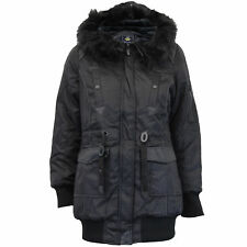 ladies parka jacket Brave Soul womens hooded coat padded faux fur PU PVC winter