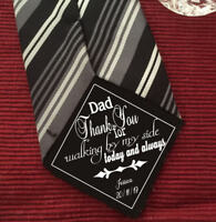 Father of the Bride Thank you for walking by my side iron on Wedding Tie Patch