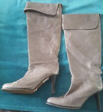 SPORTSGIRL Tyrone Grey Leather Pull On Knee Calf High Heels Boots Size 7 rrp$199