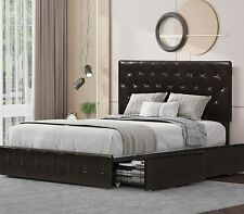 Full Size Bed Frame, Upholstered 4 Storage Drawers Bed Frame, with Headboard