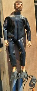 RARE Vintage bearded GI Joe 1964 SCUBA Diver W/Tank mask FLIPPERS scuba suit