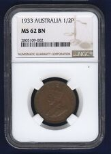 AUSTRALIA GEORGE V 1933 HALF-PENNY COIN, CHOICE UNCIRCULATED CERTIFIED NGC MS-62