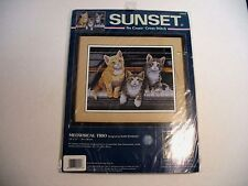 """No Count Cross Stitch Kit """"Meowsical Trio"""" Sunset 14"""" x 11"""" New UNOPENED"""
