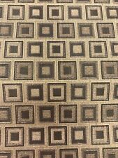 Brown Tan Woven Upholstery Fabric Decor Metallic Bronze Chenille Squares 3.2yds