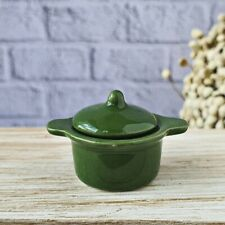 Ceramic ฺGreen Pot Lid Dollhouse Miniatures Food Kitchenware Cookware Supply Set