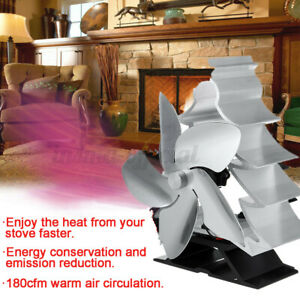 ☆ 5 Blade Heat Powered Stove Top Fan Wood Log Burner Fireplace Burning Christmas