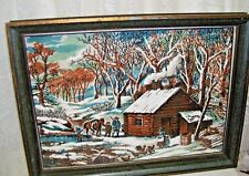 Framed Fabric Print Log Cabin and Family
