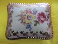 TRINKET POT BOX china floral ROSE rectangular Porzellanfabrik Friedrich Eger &Co