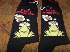 2 NEW PAIR'S MEN'S NOVELTY fun BEER FROG MONSTER SOCKS SIZE 6-9 Great gift