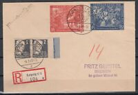 CU7645/ GERMANY SOVIET ZONE – MI # 212 (PAIR) + 230 / 231 ON REGISTERED COVER