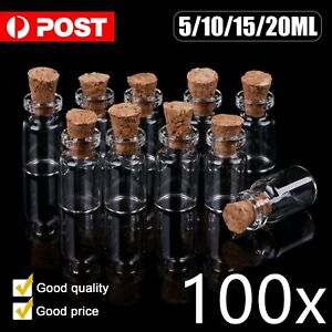 100 Packs Glass Bottles with Cork Stopper Tiny Vials Storage Crafts 5/10/15/20ML