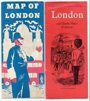London and Nearby Places of Interest and Map of London Brochures Lot of 2 1950's