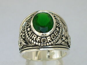 925 Sterling Silver United States Air Force Military May Emerald Men Ring Sz 10