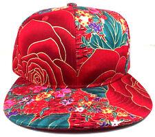 RED BIG ROSE FLORAL HAWAIIAN PRINT SNAPBACK HAT CAP ADJUSTABLE FLAT BILL FLOWERS