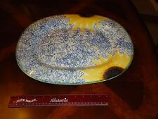 "Poole Pottery England Vincent Hand Painted Sunflower 17 3/4"" Serving Platter Tra"