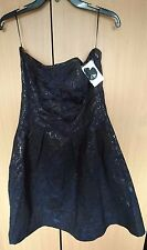 NEW WITH TAG H&M BLUE& BLACK JACQUARD STYLE STRAP/STRAPLESS DRESS SIZE16(14)