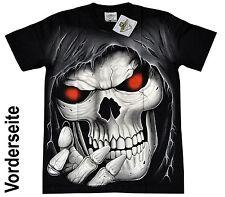 T-Shirt Herren schwarz Motiv Shirt Totenkopf Rocker Biker Chopper Harley