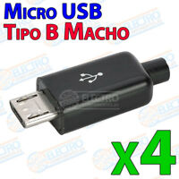 4x Conector color NEGRO Micro USB Tipo B MACHO para cable con carcasa plastico