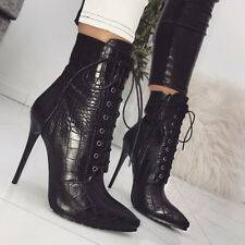 Women Sexy Leather Point Toe Lace Up High Heel Short Ankle Boots Stiletto Shoes
