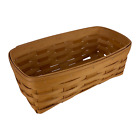 """Vintage 1995 Royce Craft Woven Wooden Long Tissue Box Basket 12"""" Signed"""