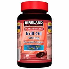 Kirkland Signature Krill Oil 500mg -- 120 Softgels Phospholipid Omega 3s Jan2019