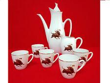 Set Cafe/te en porcelana España, Decoracion Taurina Vintage Clasico Años 80.