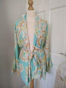 New Zara Blue Paisley Print Blouse Top belted Kimono Jacket dress Bloggers Uk XS