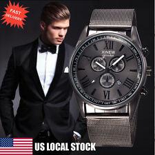 Luxury Men's Military Watch Date Stainless Steel Sport Analog Quartz Wrist Watch