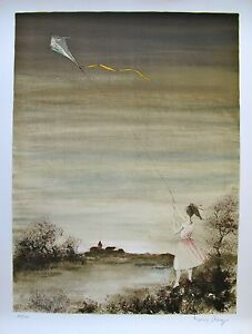 """BERNARD CHAROY """"GIRL WITH KITE"""" Hand Signed 1978 Limited Edition Lithograph Art"""