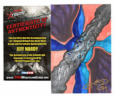 TNA Jeff Hardy 2010 Xtreme Hand Signed Original Hand Drawn Framed Artwork 5 x 7