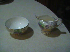 Empire China Open Sugar Bowl & Creamer England Floral & Gold Hand Painted