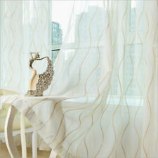 Beige Golden Blue Striped Window Sheers Simple Room Voile Curtains Tulle Drapes