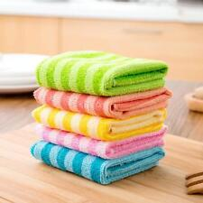 5P/set Microfiber Dishcloth Square Kitchen Washing Cleaning Towel Dish Cloth aua