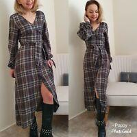 Zara New Long Check Print Puff Sleeve  Dress Size Xs 6 8